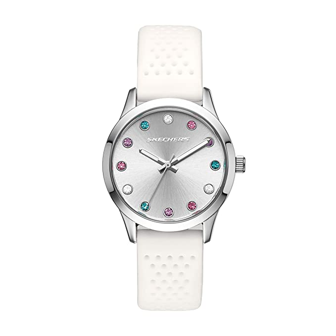 Amazon.com: Skechers Womens Dianthus Quartz Metal and Silicone Casual Watch Color: Silver, White (Model: SR6092): Watches