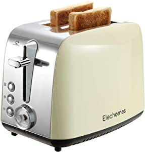 Toaster 2 Slice, Elechomes Retro Extra-wide Slots 1.5in Toasters for Bagels, Big Homemade Slices of Bread & Muffins, Compact Electric Toaster with 7 Bread Shade Settings, Toast Evenly and Quickly, Pull-out Crumb Tray for Easy Cleaning, Stainless Steel
