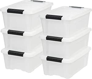 IRIS USA, Inc TB-42 12 Quart Stack & Pull Box, Multi-purpose Storage Bin, 6 Pack, Pearl