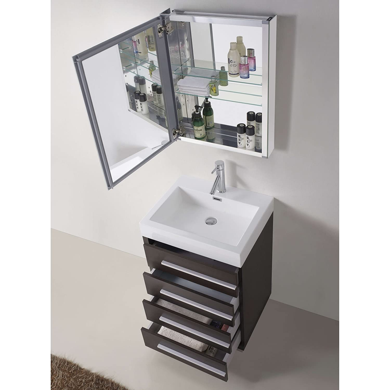 Virtu USA JS GW 24 Inch Bailey Single Sink Bathroom Vanity