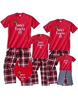 Santa's Favorite Elf Matching Family Holiday Christmas Pajamas & Kids Playwear