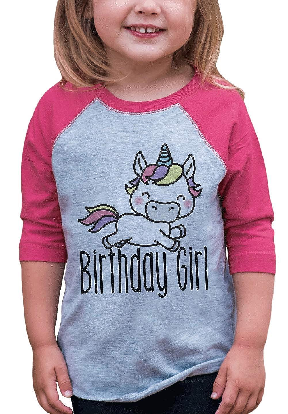 7 ate 9 Apparel Girls Unicorn Birthday Pink Raglan Tee