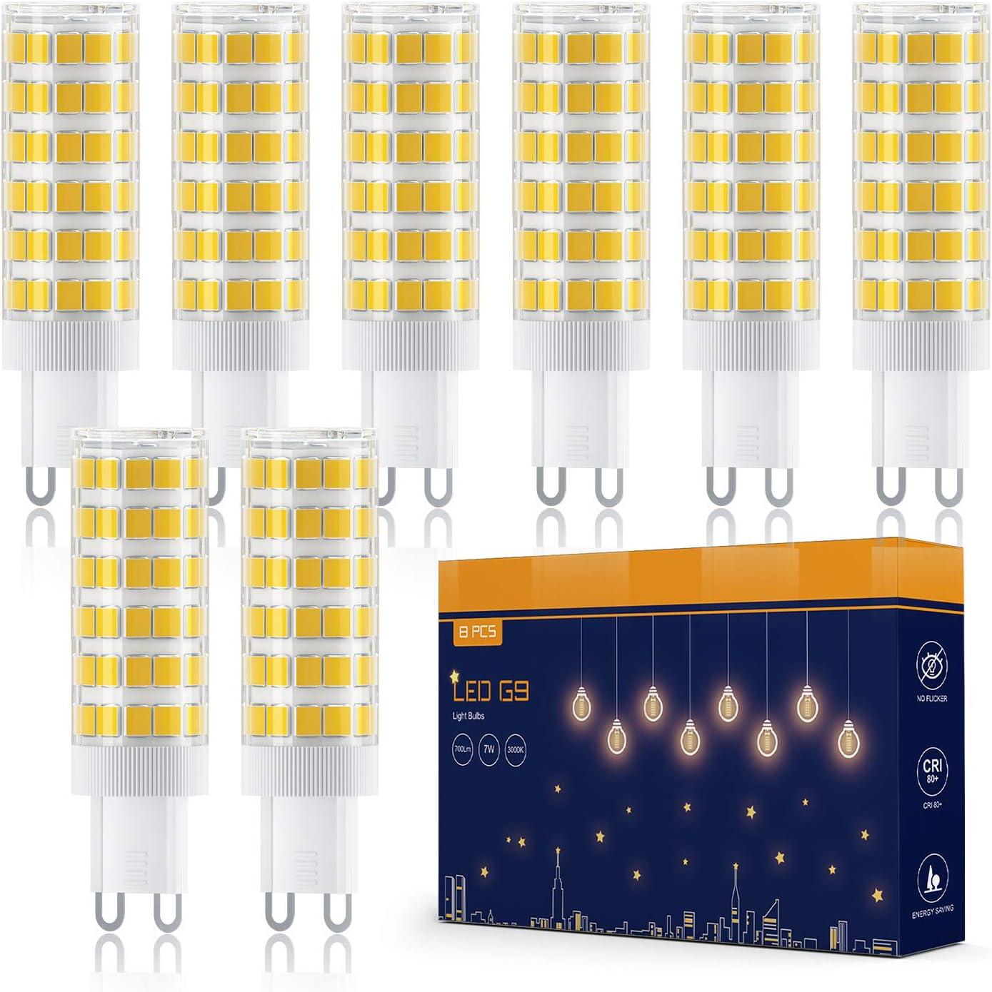 Bombilla LED G9, Tasmor 8 Unidades Bombillas LED Luz Cálida 7W, Equivalente a 70W Lampara Halógena, 700 Lúmenes, Blanco Cálido 3000K, Ángulo de Visión de 360°, Sin Parpadeos, No Regulable