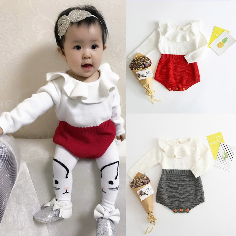Weiyun Kids Girls Baby Knitted Sweater Winter Princess Romper Jumpsuit Clothes