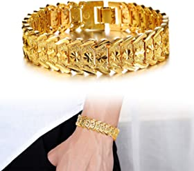 457afd654 OPK Jewelry Men's Fashion 18k Yellow Gold Plated Link Bracelet Carving  Bangle,8.26 Inch