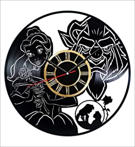 Beauty and The Beast Vinyl Wall Clock Vintage Record Get Unique Home and Office Decor Bedroom Kitchen Kids Living Room - Gifts for Men Women Kids Father Mother Wall Art Design - Free Personalization