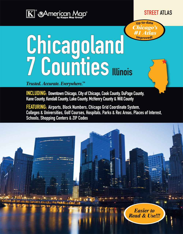 Chicagoland 7 Counties Atlas American Map Company 9780762577712 Amazon Com Books
