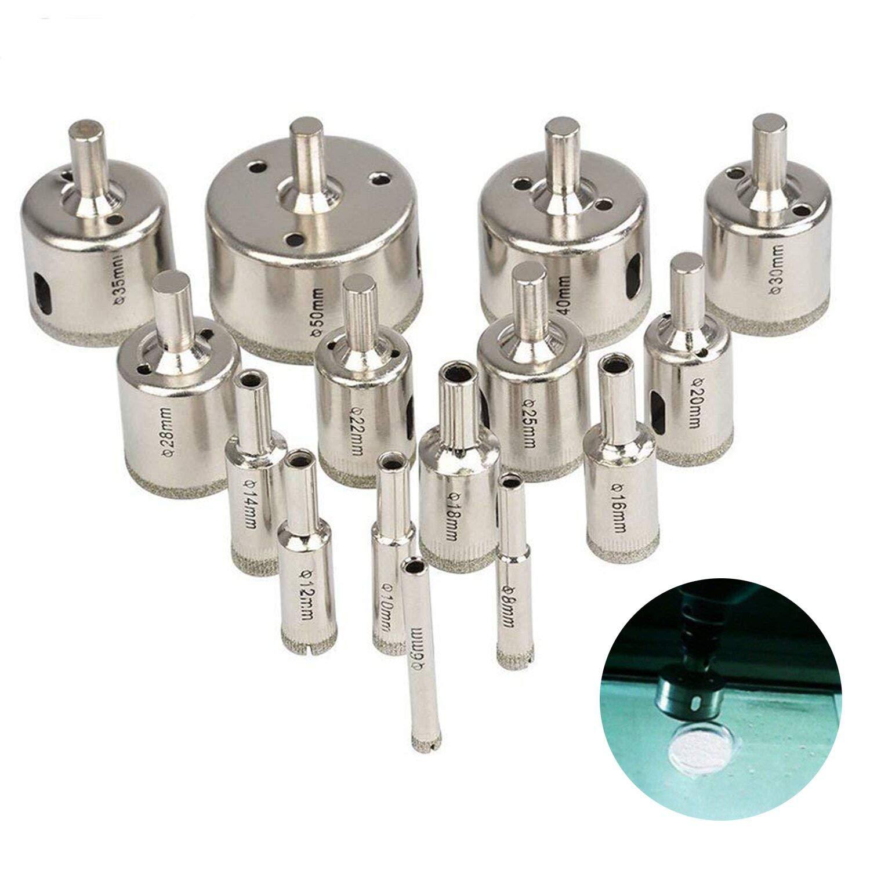 Tian 15Pcs Foret Diamant Scie Cloche Diamant Mèche à Verre Trou Scie Trépan pour Carrelage Céramique Porcelaine Marbre Grés(6mm-50mm)