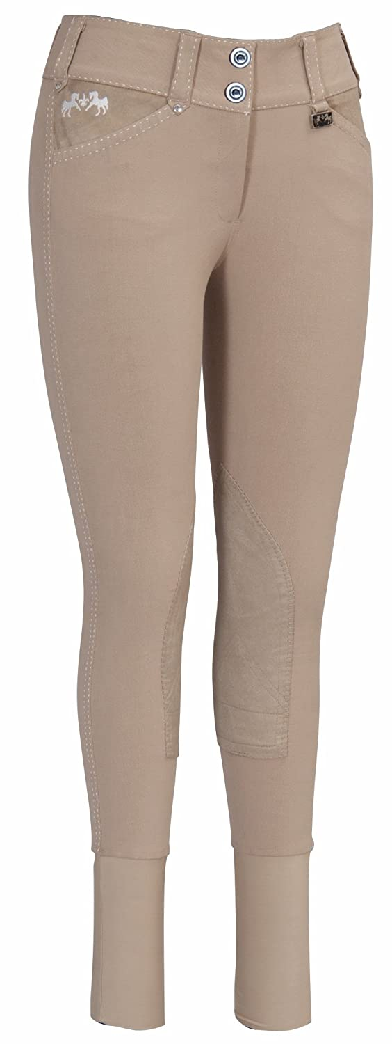 Equine Couture Womens Blakely Knee Patch Breech with Contrast Saddle Stitch