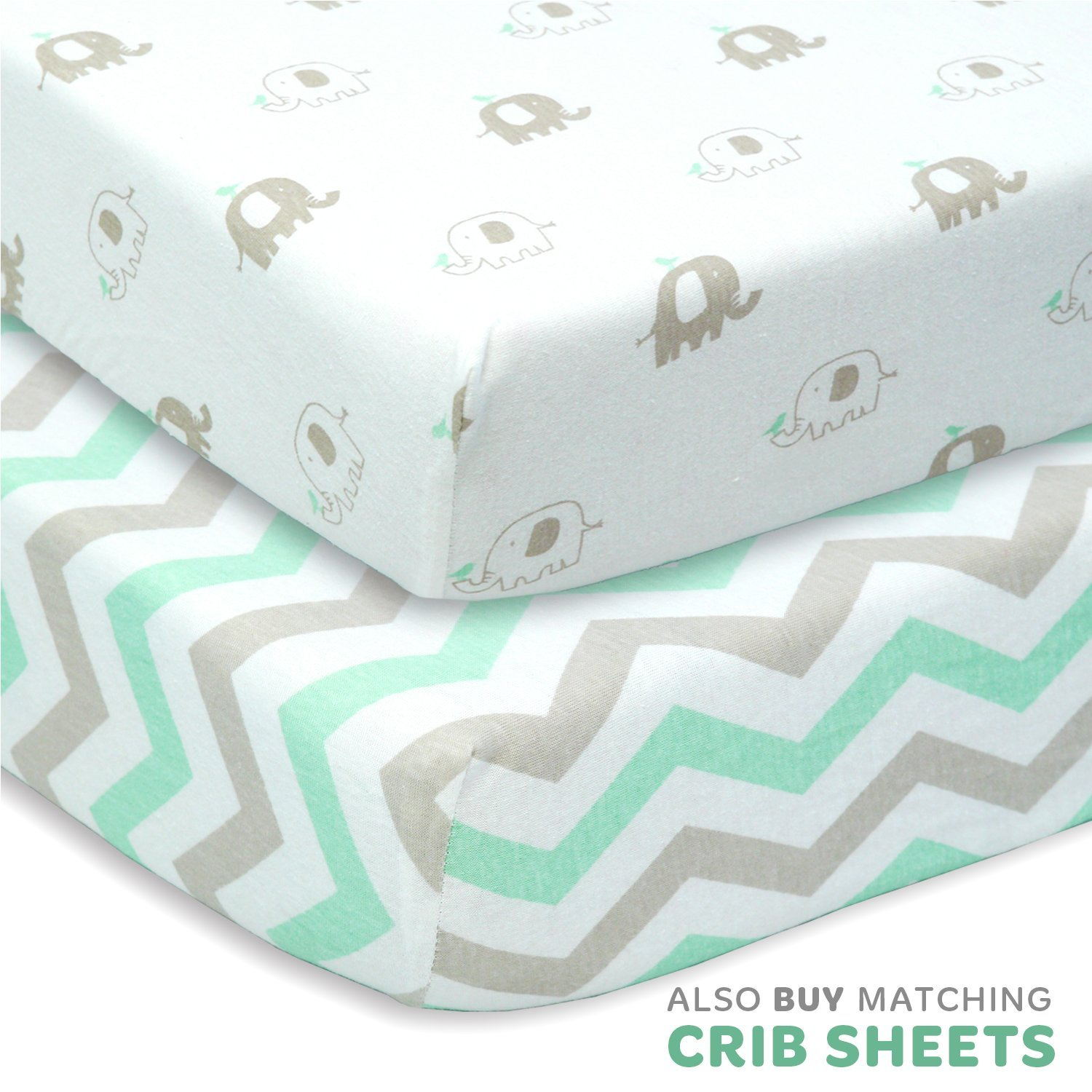 Changing Table Pad Covers Set for Baby Boy Or Girl | 2 Pack Extra Soft Jersey Cotton - Gray Stripes & Elephants - TOP Quality Nursery Bedding Cradle Sheets by Cuddly Cubs