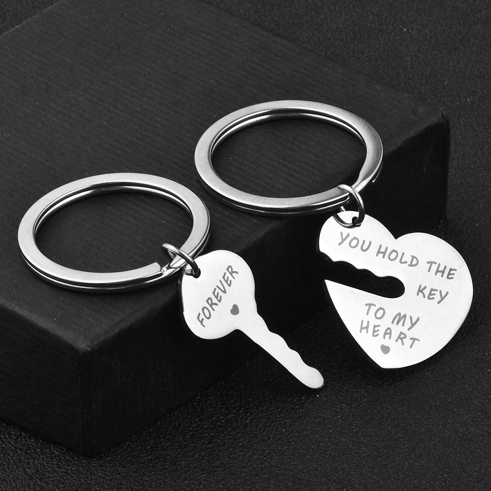 Lovers Key Chain Set, Iuhan Romantic Couple Keychain Keyring Keyfob Valentine's Day Lover Gift Heart Key Set (A) by Iuhan  (Image #2)