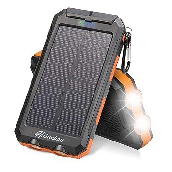 Hiluckey - Cargador Solar de 10000 mAh, batería Solar Impermeable para iPhone, iPad, Samsung Galaxy Android y más Actividades al Aire Libre