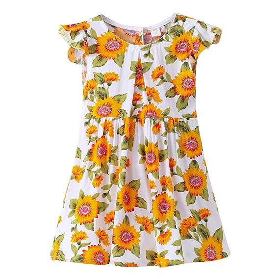 QinMM Vestido de Fiesta Floral de Verano Para Niñas DE 3-7 Años, Vestido de Princesa de Noche de Playa de Manga Corta: Amazon.es: Ropa y accesorios