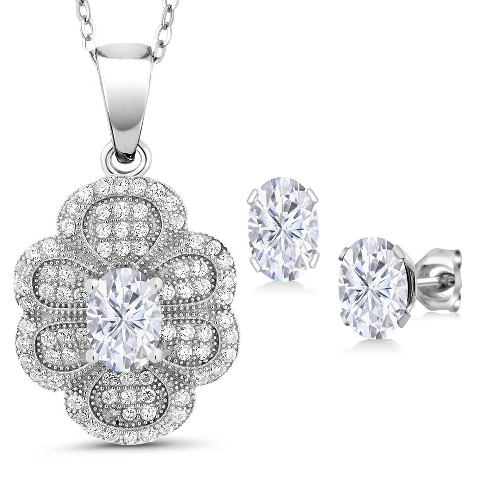 925 Sterling Silver Pendant Earrings Set Forever One (GHI) Oval 2.70ct (DEW) Created Moissanite by Charles & Colvard