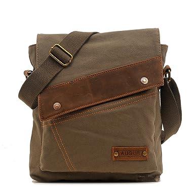 Amazon.com | Sechunk Cotton Canvas Leather Messenger bags Shoulder ...