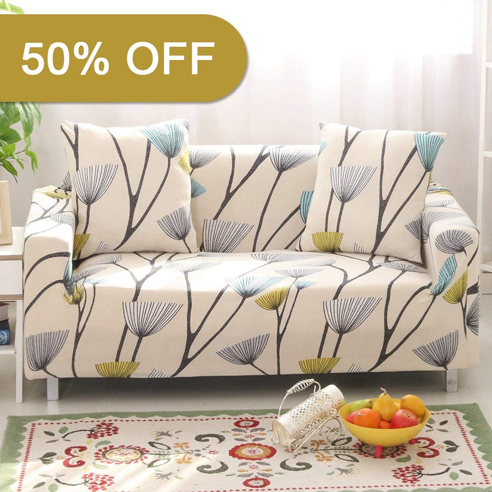 Lamberia Printed Sofa Cover Stretch Couch Cover Sofa Slipcovers for Couches and Loveseats with One Free Pillow Case (Dandelion, Loveseat)