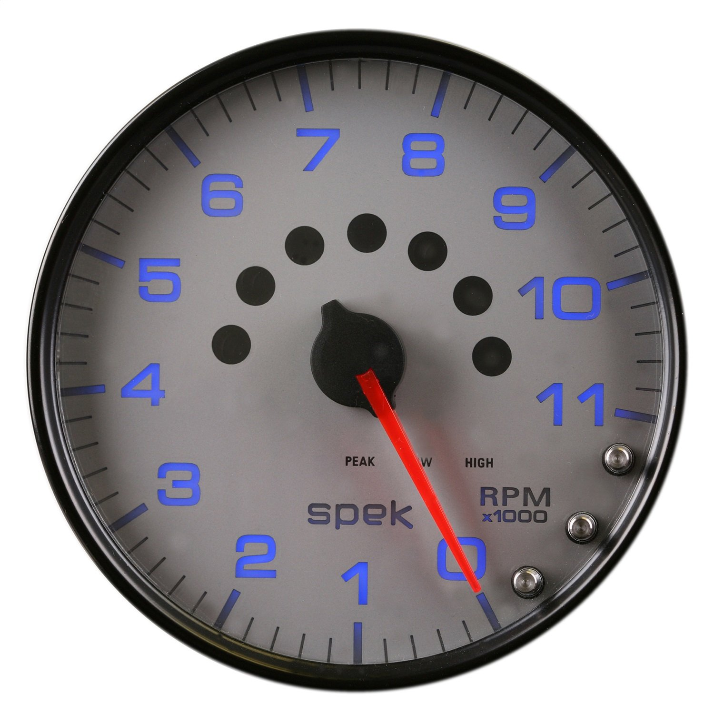 Tachometer Silver//Black Spek-Pro 5 Auto Meter P23922 Gauge W//Shift Light /& Peak Mem 11K RPM 5
