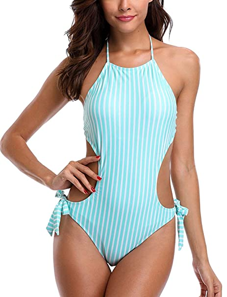 9b93bf41b7 ATTRACO Women's Colorful Striped One Piece Swimsuit Rainbow Bathing Suits