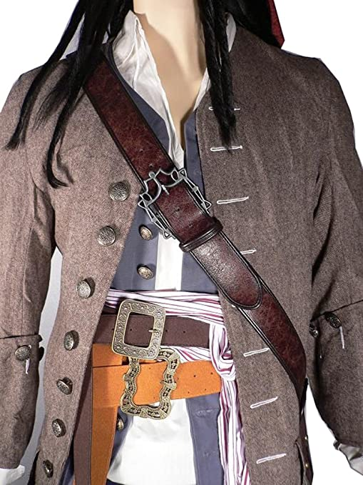 Deluxe Adult Costumes - Jack Sparrow pirate 3-pc sun & flower faux leather waist belts with baldric shoulder belt costume prop set