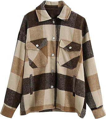 KOOSUFA Chaqueta de camisa a cuadros para mujer, chaqueta de ...