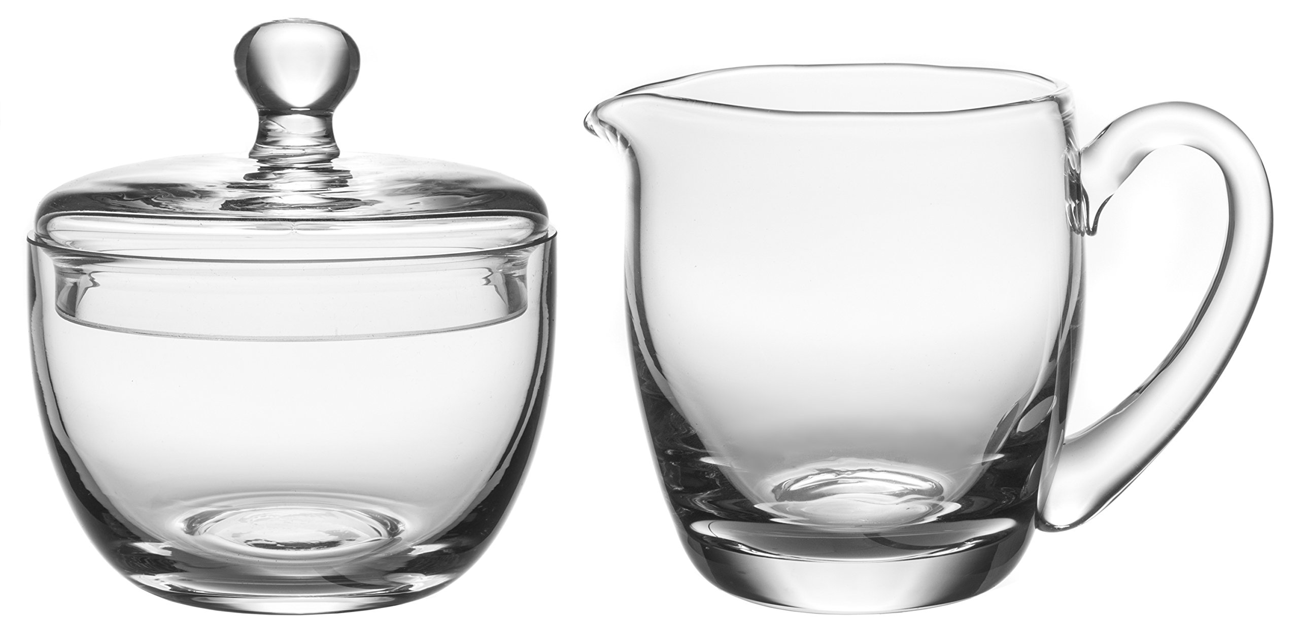 Hand Crafted Crystal Clear Glass Multipurpose Sugar Bowl & Creamer Set, 4-inch by Red Co.