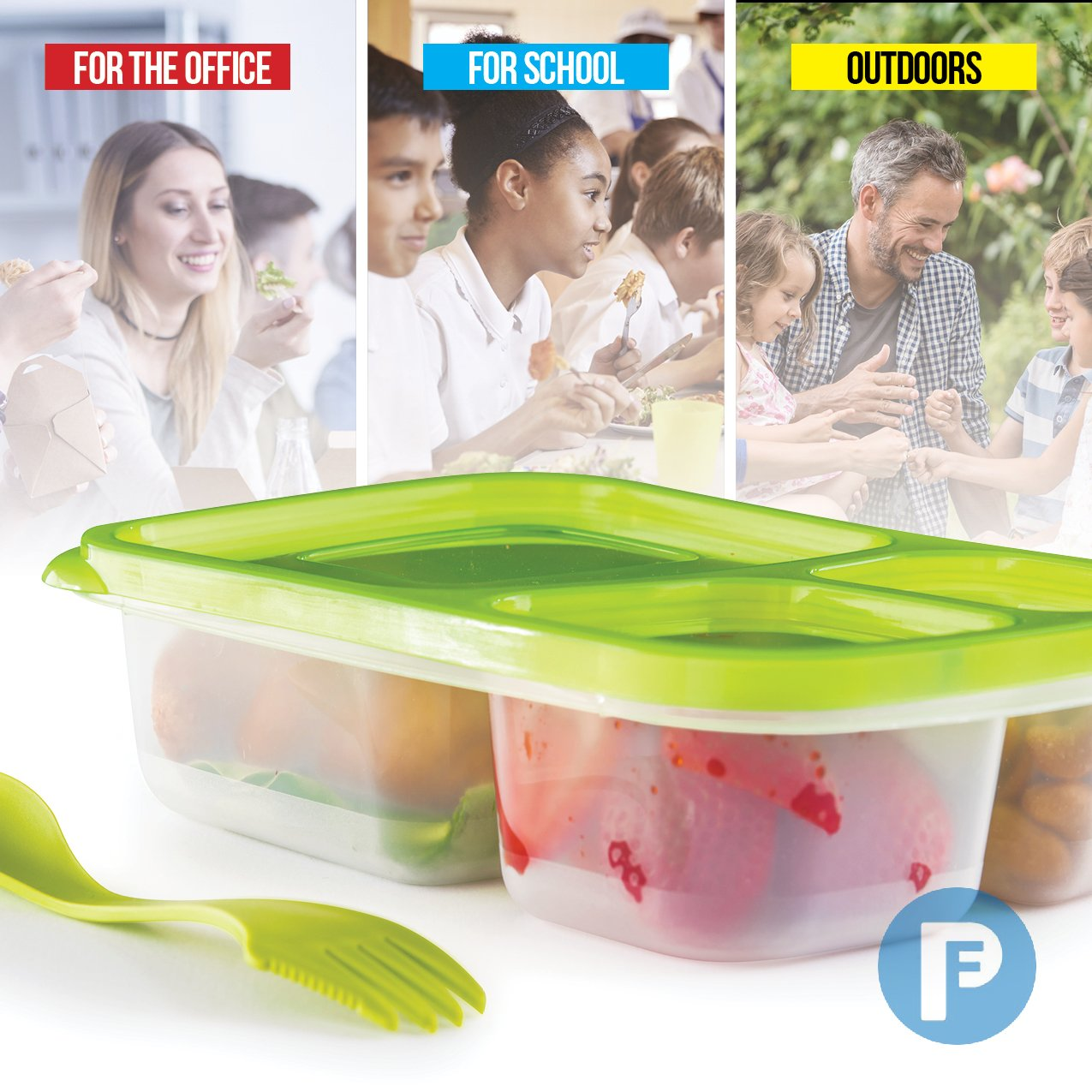 Bento Lunch Box 3 Compartment Food Containers – Set of 8 Storage meal prep Container Boxes– Ideal for Adults, Toddler, Kids, Girls, and Boys – Free Fork/Spoon & Puzzle Sandwich Cutter