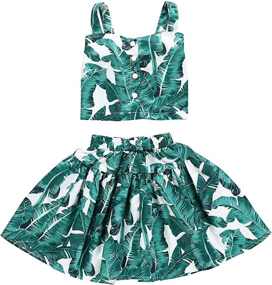 Amazon.com: Little Kids Girls Summer Dress Clothing Outfit Fashionable Leaf  2PC Skirt Sets (Green#2, 3-4Years): Clothing