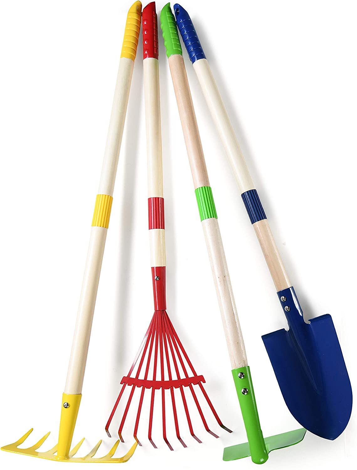 Play22 Kids Garden Tool Set Toy 4-Piece - Shovel, Rake, Hoe, Leaf Rake, Wooden Gardening Tools for Kids Best Outdoor Toys Gift for Boys and Girls