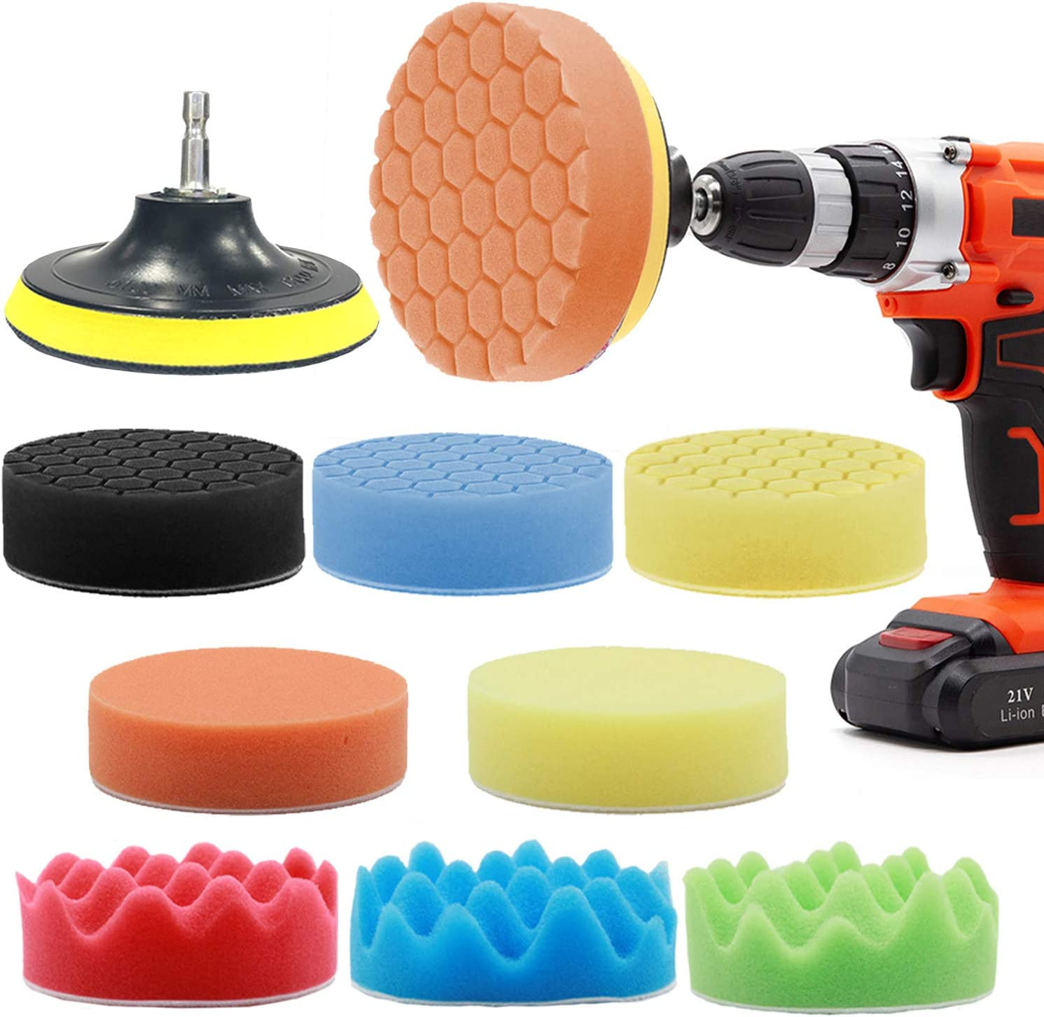 GOH DODD Polishing Pads, 11 Pieces 4 Inch Buffing Sponge Pads with Backing Plate and Drill Adapter for Car Sanding, Polishing, Waxing