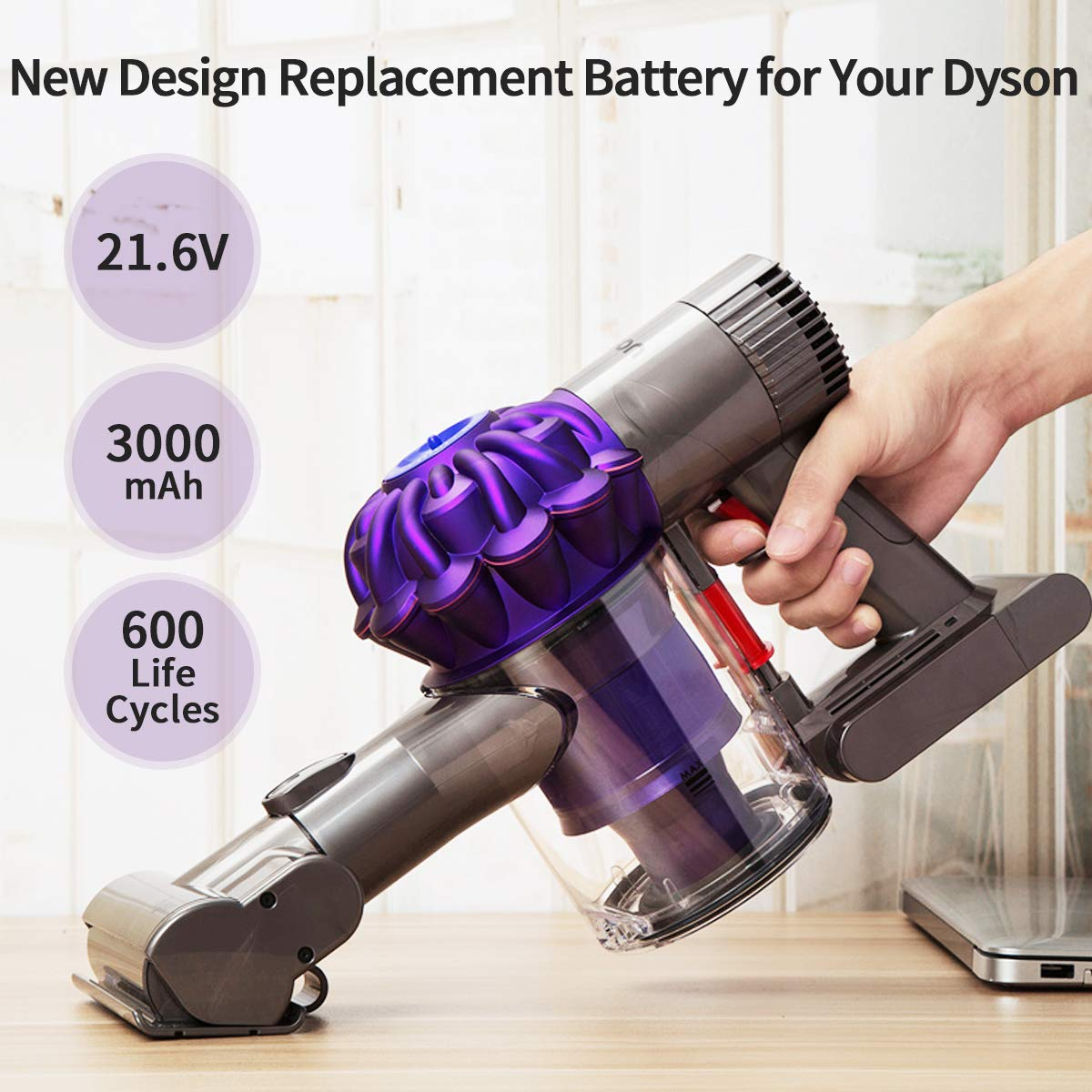 morpilot Dyson V6 Battery 3000mAh 21.6v Li-ion Replacement Battery or Dyson DC59 DC58 DC61 DC62 DC72 DC74 Handheld Vacuum Cleaner Batteries - with 2 Pack Free Dyson v6 Filter