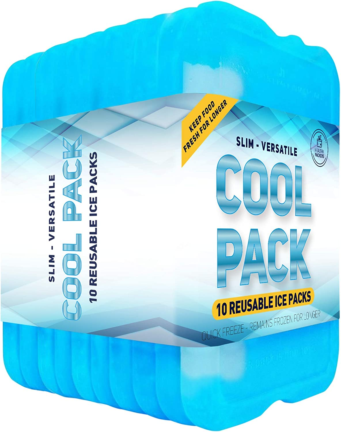 Healthy Packers Ice Pack for Lunch Box - Freezer Packs - Original Cool Pack (Set of 10) | Slim & Long-Lasting Ice Packs for Your Lunch or Cooler Bag