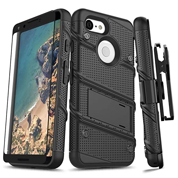 the best attitude 37625 6babc Zizo Bolt Series Compatible with Google Pixel 3 Case Military Grade Drop  Tested with Full Glass Screen Protector Holster and Kickstand Black Black