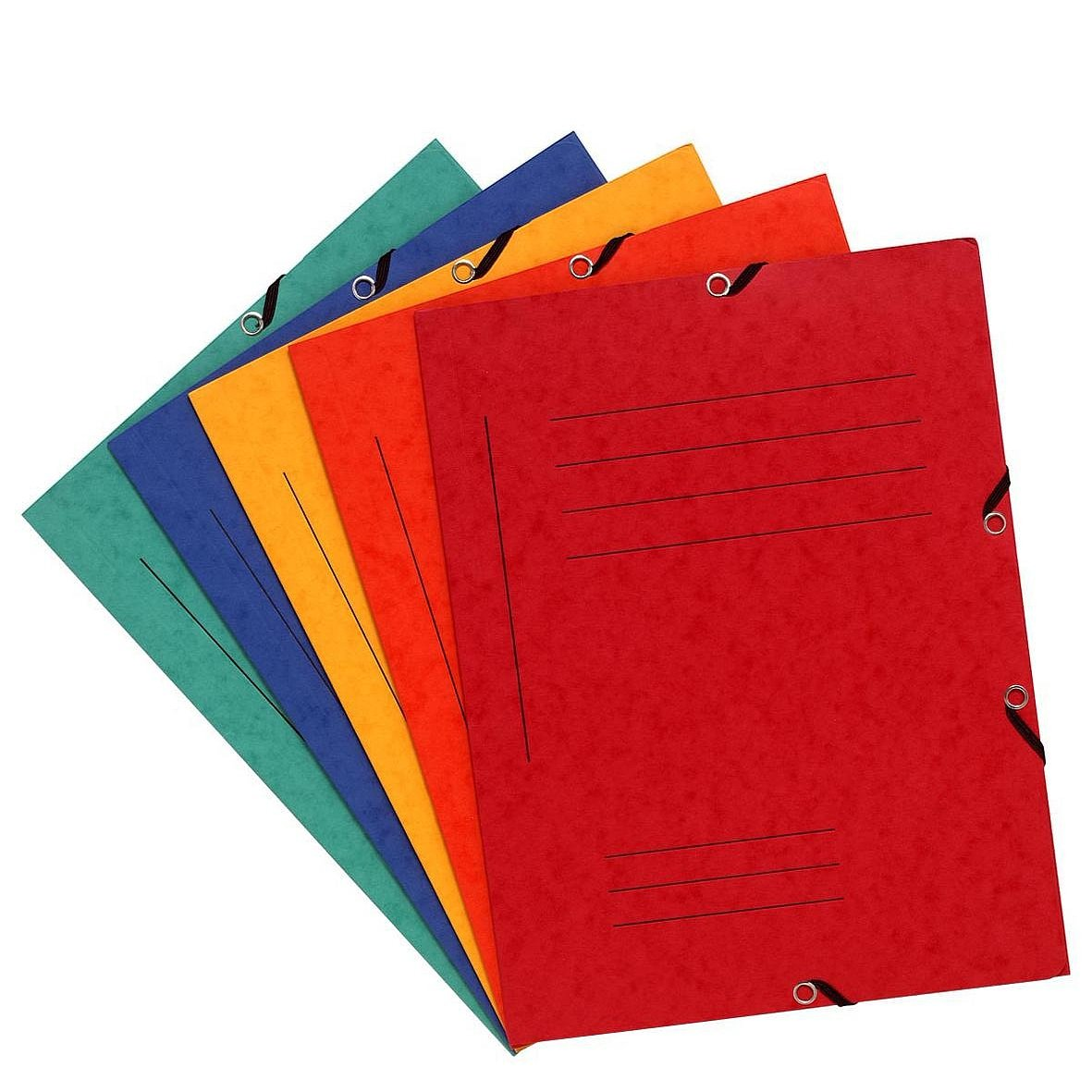 colori assortiti con elastici e 3 alette Cartellette in cartoncino Manila da 355 g//mq Exacompta 55360E 10 pz formato DIN A4 copertina con tabella prestampata