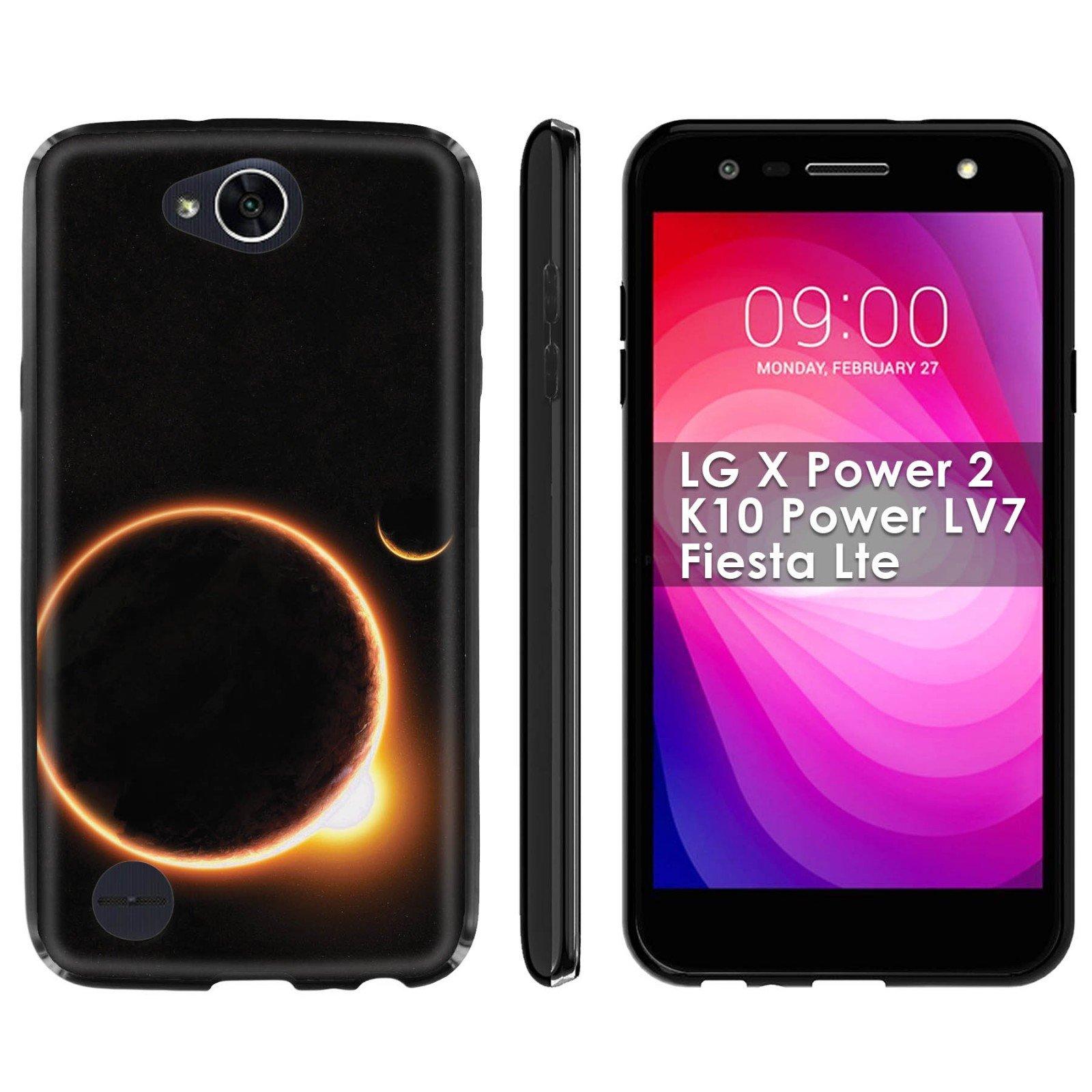 LG X Power 2/K10 Power LV7/Fiesta Lte Soft Mold [Mobiflare] [Black] Thin Gel Protect Cover - [Solar Eclipse] for LG X Power2/K10 Power LV7/Fiesta Lte [5.5'' Screen]