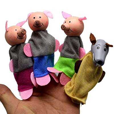 Dolls, 4Pcs Three Little Pigs and Wolf Finger Puppets Hand Puppets Christmas Gifts, Finger Puppet Hand Puppet Three Piglets and Wolf: Arts, Crafts & Sewing