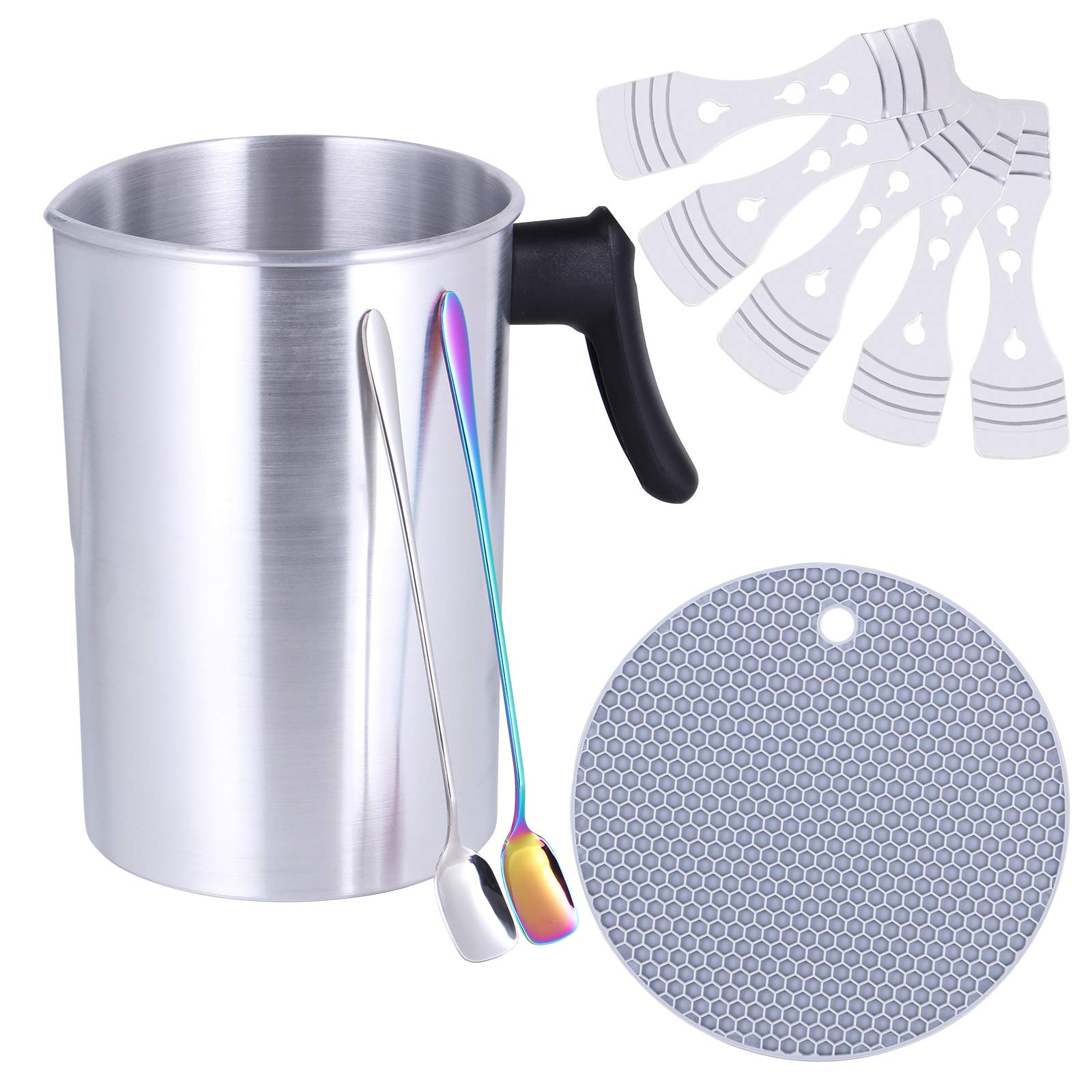 Candle Making Pouring Pot, TOKSEO 4 Pounds DIY Candle Making Kits, Candle Making Pitcher, Aluminum Construction Wax Melting Pot with Dripless Heat-Resisting Handle& Pouring Spout
