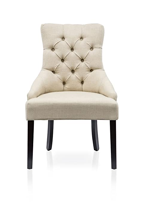 Perfect Furniture Of America Dena Flax Fabric Accent Chair, Ivory, Set Of 2