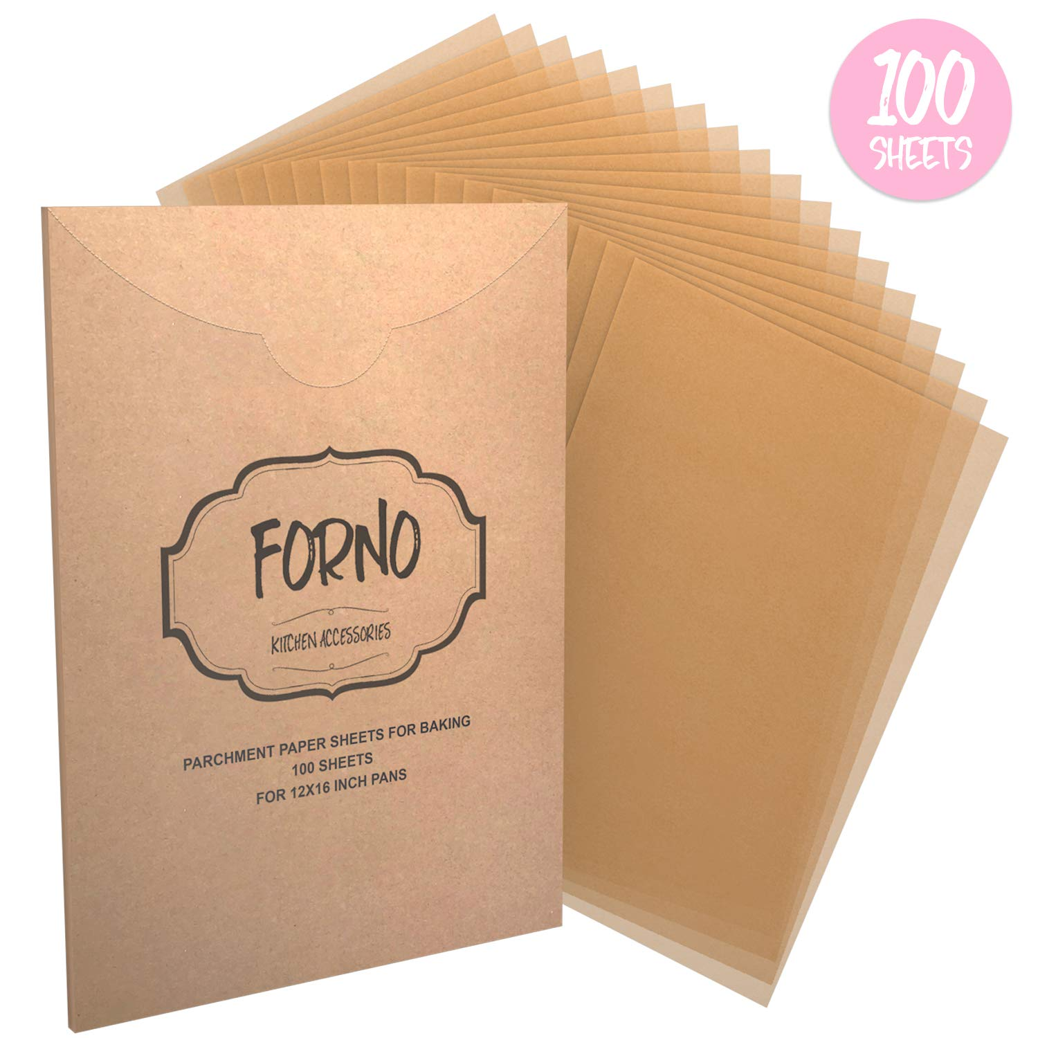 Parchment Paper Sheets For Baking - Reusable Unbleached Precut Parchment Paper Liners For 12 X 16 Cookie Sheets & Pans - Best For Non-Stick Baking - 100 Sheets by Forno