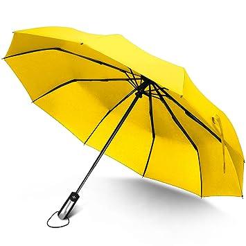 Paraguas de viaje automático, Rainlax Paraguas Plegable Compacto y Resistente al Viento con Apertura y