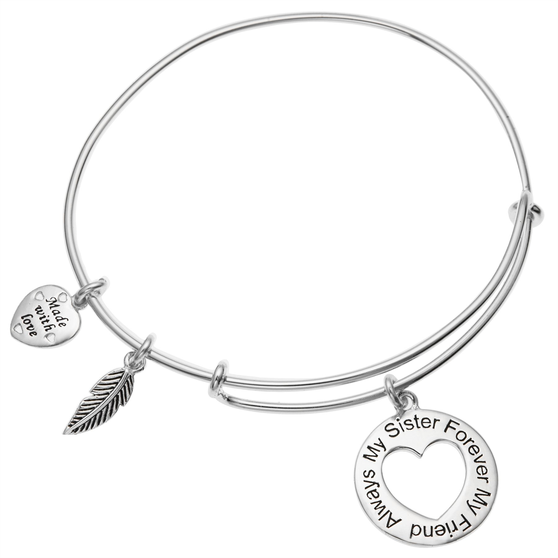 Sterling Silver Always My Sister Forever My Friend Love Heart Feather Dangle Charm Family Adjustable Wire Bangle Bracelet