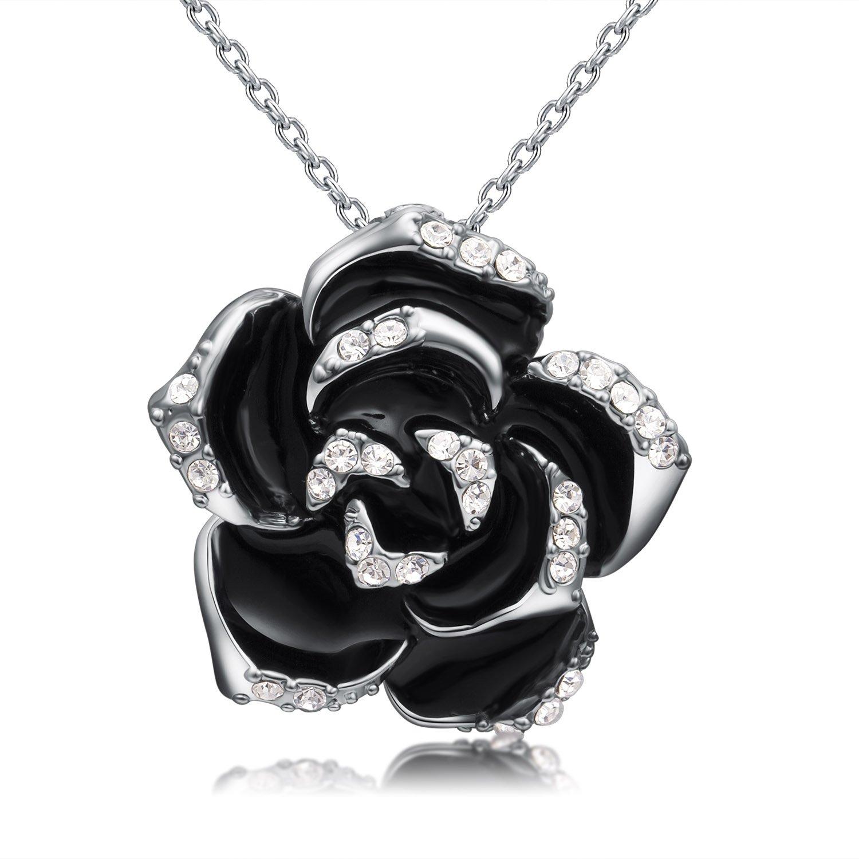 Fashion Fleur à Quatre Feuille Lucky Clover Perle Blanche//Noir Collier Pendentif