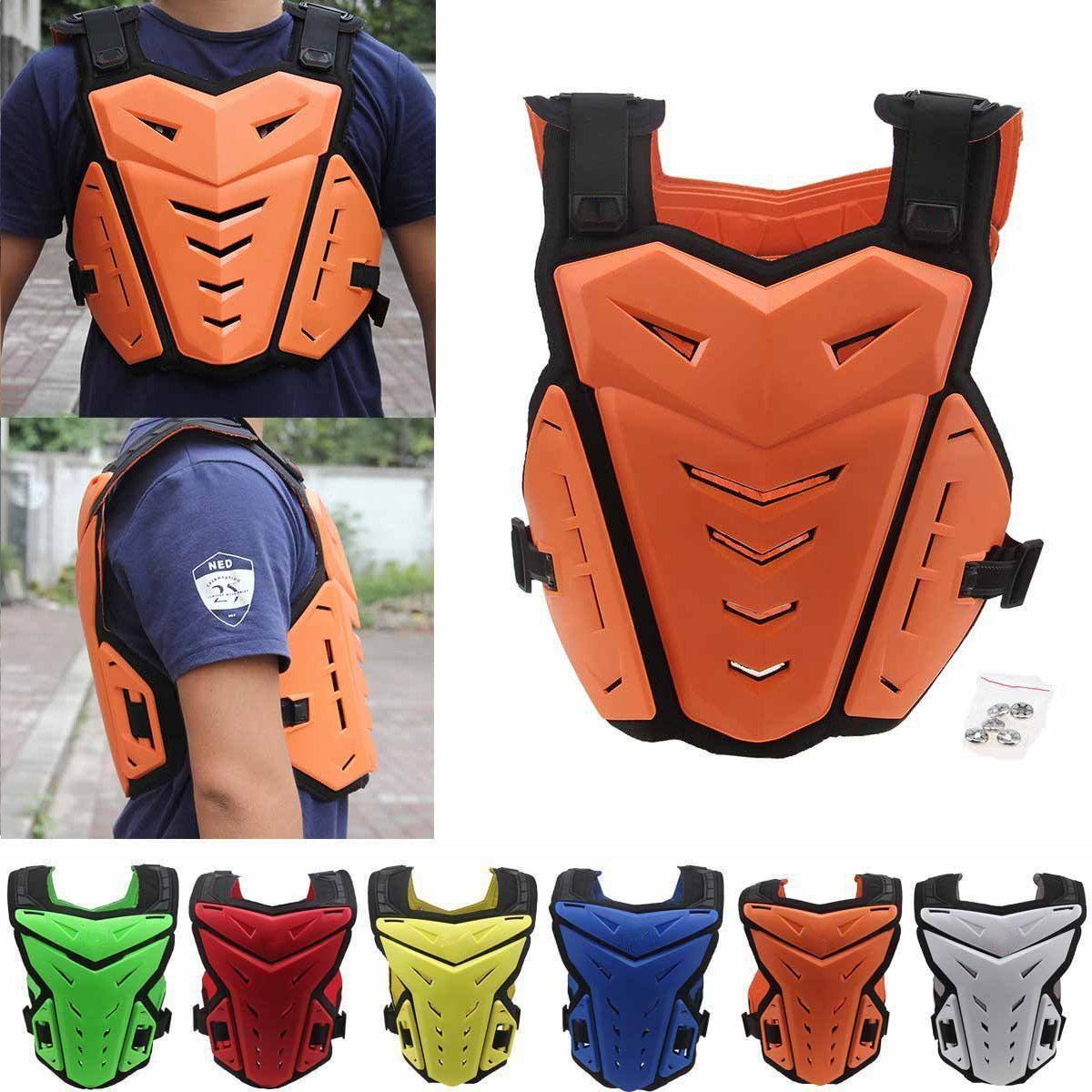 Chest Back Protector, Body Vest Armor Protective for Motocross Riding Skating Skiing Scooter