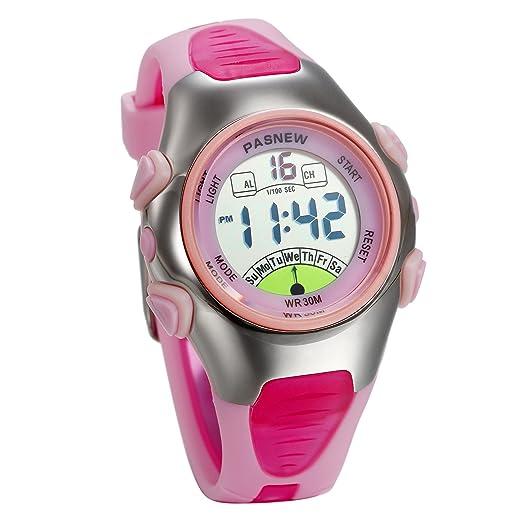 JewelryWe Relojes para Niños Niñas Reloj Deportivo Digital Para Aire Libre Reloj Infantil De Colores Dibujos Animados Correa de Silicona Suave, Rosa: ...