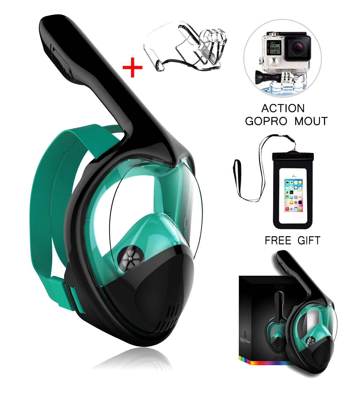 Marlrin Full Face Snorkel Mask, Snorkeling Mask for Adults and Kids with Detachable Camera Mount, 180 Degree Large View Free Breath Dry Top Set Anti-Fog Anti-Leak by Marlrin