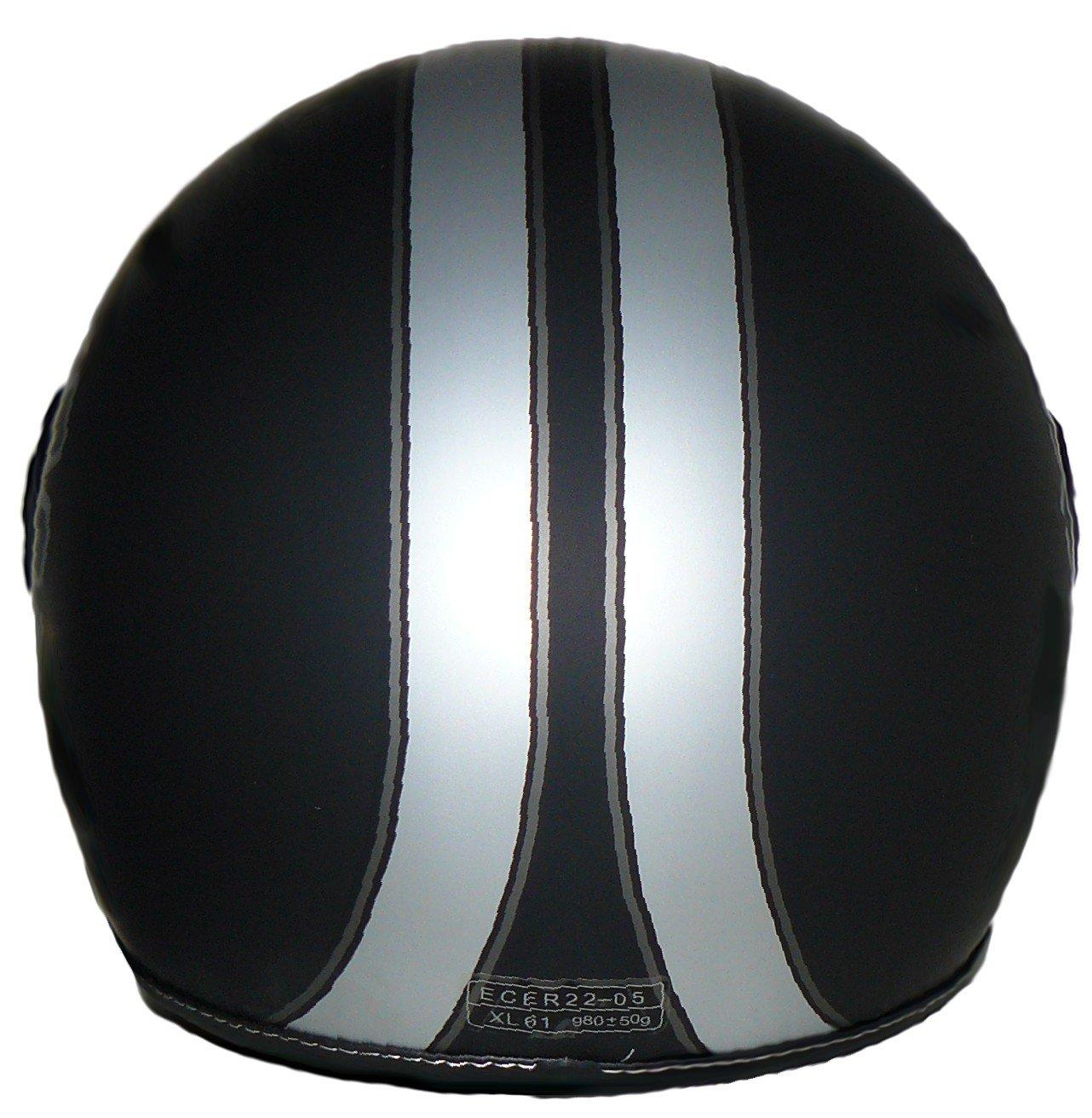 Protectwear Jethelm Motorradhelm im Pilotendesign H710-Streifen XL