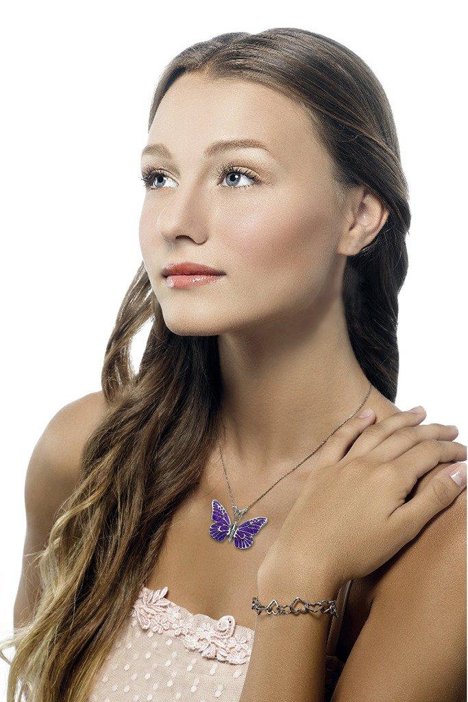 925 Sterling Silver Butterfly Necklace Pendant Purple Polymer Clay Handmade Millefiori Jewelry, 16.5'' by Adina Plastelina Handmade Jewelry (Image #2)