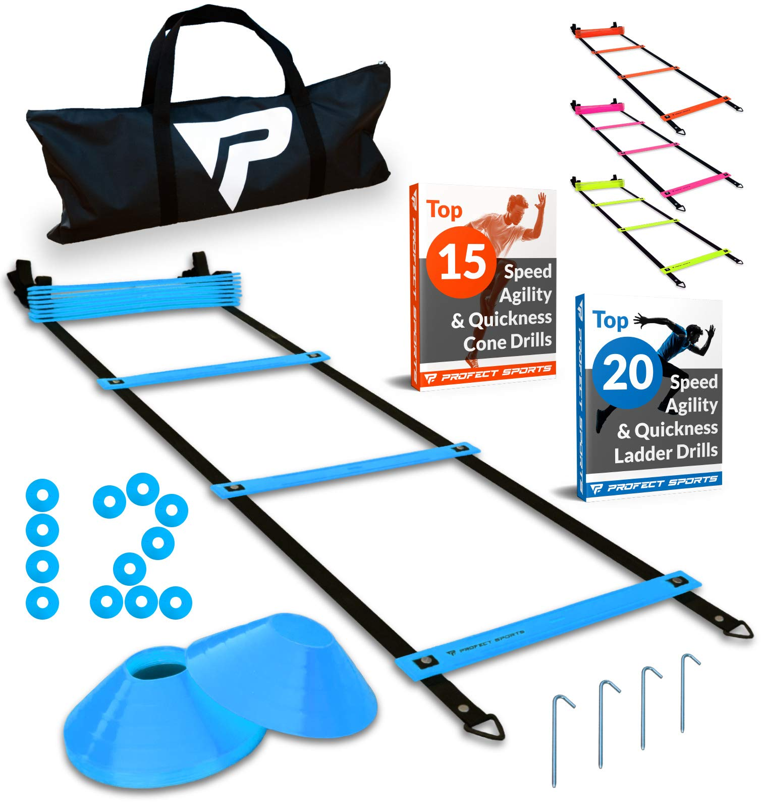Pro Agility Ladder and Cones – 15 ft Fixed-Rung Speed Ladder with 12 Disc Cones for Soccer, Football, Sports, Exercise…