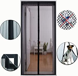 Magnetic Screen Door with Heavy Duty Mesh Curtain Full Frame Hook and Loop Adhesive Easy Open Fresh Air Reinforced Fiberglass (3483)