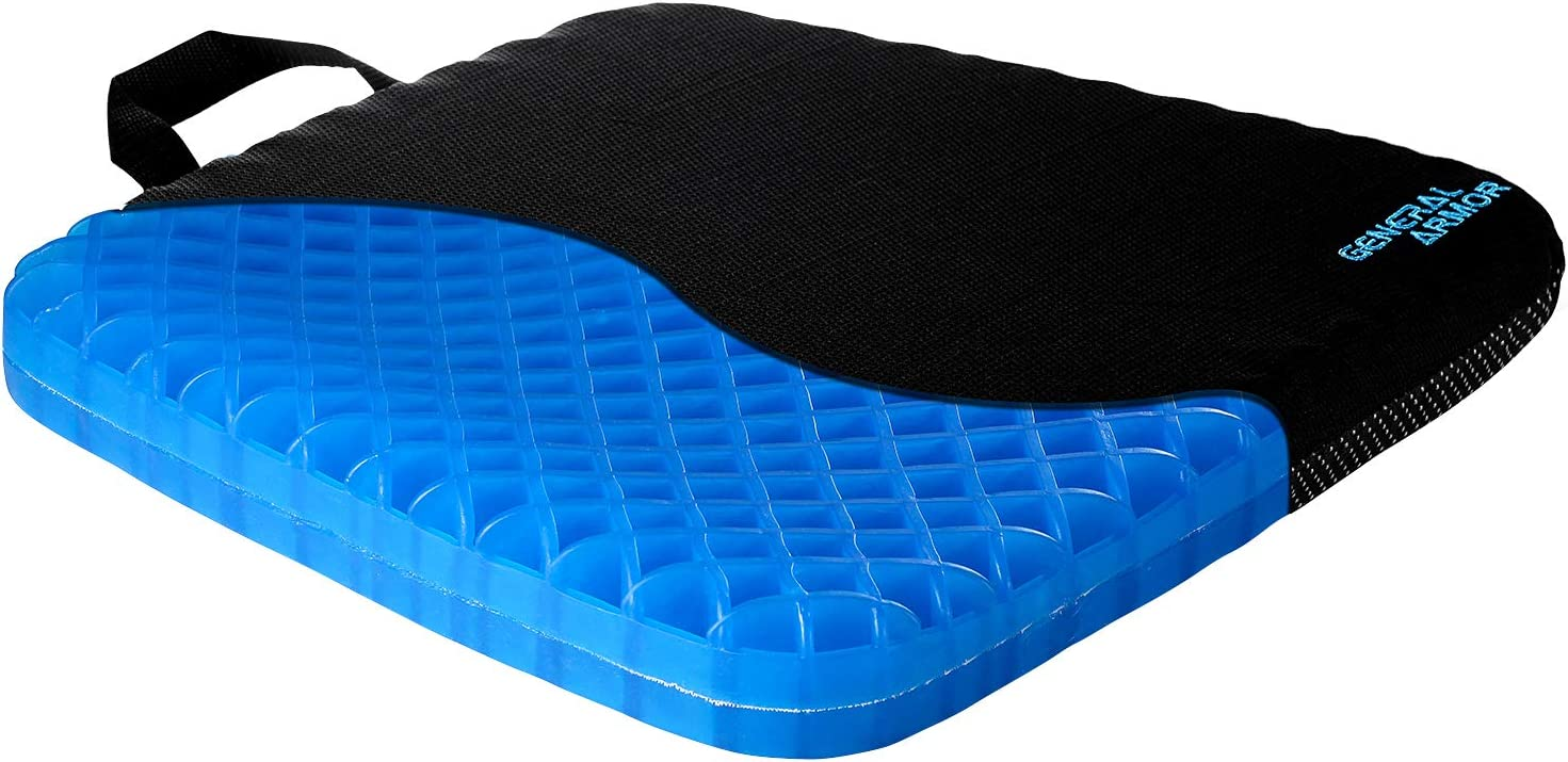 GENERAL ARMOR Gel Seat Cushion - Provide Relief for Lower Back, Coccyx, Sciatica,Tailbone or Hip Pain - Airflow Orthopedic Design Chair Pad for Wheelchair, Office Chairs, Prevent Sweaty Bottom 2 INCH