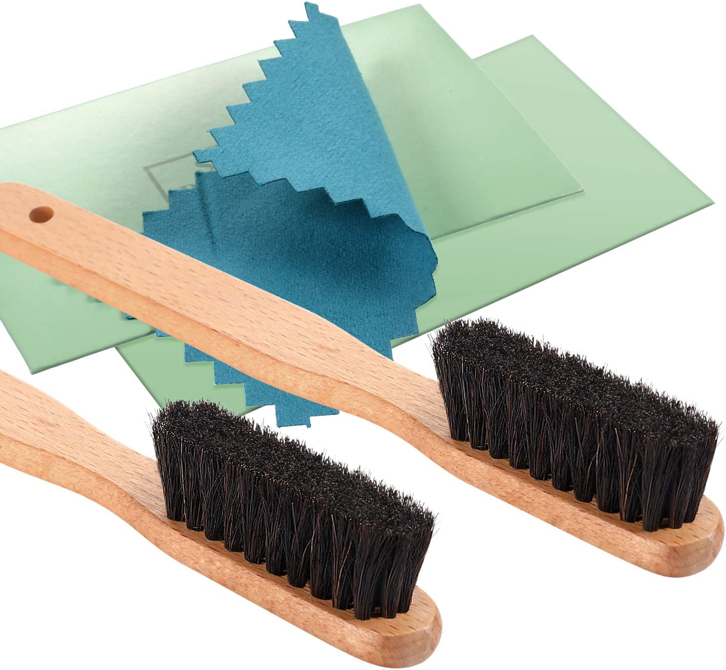 YoungJoy 4 Pcs Horsehair Silver Detailing Brush Set Cleaning Brushes Silver Care Kit with Silver Polishing Cloth (Set B)